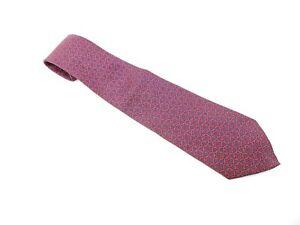 Authentic Hermes Necktie Tie Cravatte Red Navy
