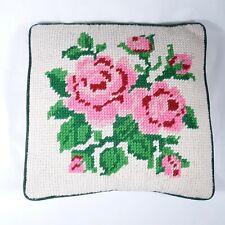 Vintage Pink Rose Flower Cross Stitch Pillow Decor Pillow