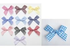 10 x Blue Ribbon Bow Gingham 7mm