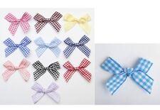10 x Blue Ribbon Bow Gingham 7mm