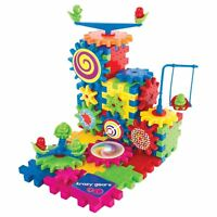 Gear Building Toy Set - 81 PC Interlocking Learning Blocks w/ Spinning Gears
