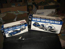 1951 Ford F-1 Truck & 1940 Ford Coupe Race Car & Trailer ERTL Bank Set -MIB 1/24