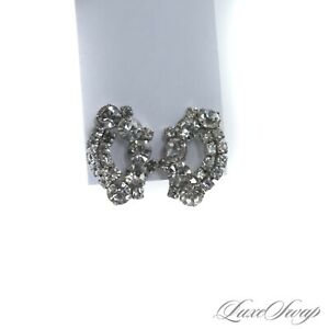 GORGEOUS Anonymous Silver Metal Faux Diamond Crystal Oval Clip Earrings WOW NR