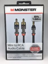Monster 6-FT 1.82M MINI TO RCA AUDIO CABLE 3.5mm Aux NEW & SEALED