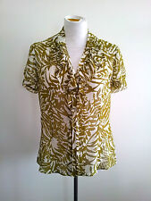 Effortless Style! Sportscraft size 10 avocado & white top in excellent condition