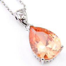 Genuine Fire Champange Topaz Gemstone Silver Drop Necklace Pendant With Chain