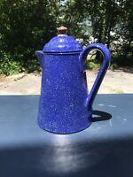 Vintage Blue Cobalt Ceramic Pottery Speckled Tea Or Coffee Pot