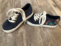 DISNEY Elena Of Avalor Girls Sz 8 1/2 Blue Denim Canvas Embroidered Tennis SHOES