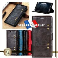 Etui coque housse Rivet Cuir PU Leather Wallet Case Huawei Honor All models Film