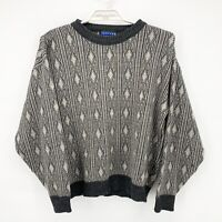 Vtg JANZTEN Mens Gray Geometric Argyle Print Cosby Chunky Knit Sweater Sz L