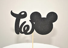 "Mickey Mouse Glitter ""TWO"" Cake Topper Boys Birthday Party Black"