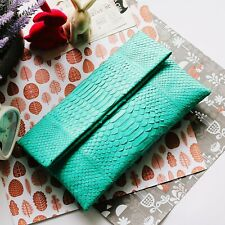 Genuine PYTHON Skin Leather / Women's Ladies / Foldover Clutch Handbag / Green
