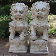 Chinese De Hua White Porcelain Guardian Bei Jing Palace Door Foo Dogs Lion Pair