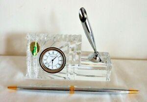 Waterford Crystal, Solid Desk Block, Clock & Pen Set, Etched Base & Label