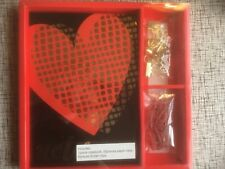 New Red Heart Stationery Set 1 notebook 50 red paperclips & 6 gold binder clips