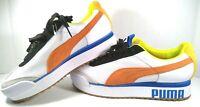 Puma Roma Amor Sport Women White Mandarin Orange & Blue Sneakers Size 6.5 New