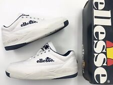 90's Vintage Men Ellesse Canvas White Navy Sz 8.5 Tennis Shoes