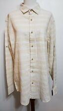 Falls Creek Mens M Tan White Stripe L/S Roll Tab Button Shirt Pocket Linen B NEW
