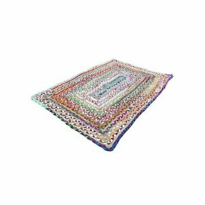 Rug Natural Jute & Cotton Braided style Reversible carpet rustic look area rugs