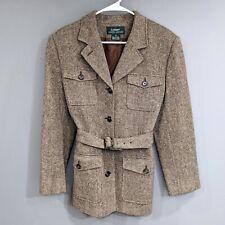 Lauren Ralph Lauren Lambswool Women's 14 Blazer Belted Equestrian Horse Buttons