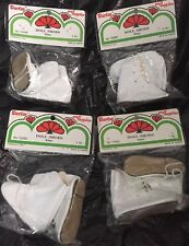 """Doll Shoes Sneakers Darice White 4 Pairs Small 2.75"""" 12055 Vtg Boots"""