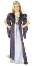 Girls JULIET Princess Renaissance Costume Blue velvet Dress + Hat - Medium 8 10