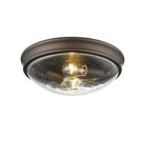 12'' Wide 2-Light Rubbed Bronze Flush Mount Ceiling Fixture by Millennium Light