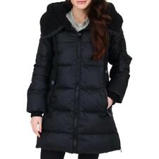Steve Madden Womens Black Insulated Faux Fur Puffer Coat Outerwear M BHFO 0534