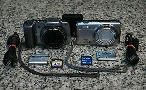 Olympus Stylus SZ-10 & VR-320 14MP HD 720p Cameras Silver W/ Extras Tested FR/SH