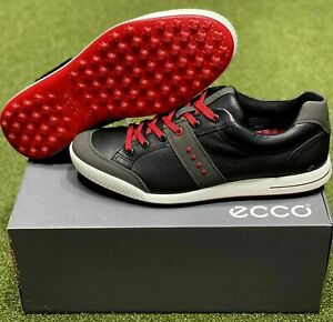ECCO Street Retro Spikeless Golf Shoes Size 45 Black/Red US 11.5 NEW #81816