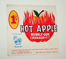 Leaf Hot Apple Bubble Cinnamon Gum Ball Machine Vending Display Card 1960s New