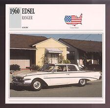 1960 Edsel Ranger Two-Door Hardtop Ford Galaxie Car Photo Spec Sheet Info CARD