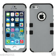 APPLE iPhone 5 5S T ARMOR HYBRID CASE SKIN COVER +SCREEN PROTECTOR GRAY BLACK