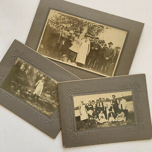 Antique Cabinet Card Group Photo Outdoor Party Cooking Man Woman Party Odd Fun
