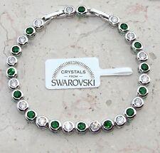 Bracciale tennis oro bianco 18k,Uomo Donna,braccialetto SW/10 verde