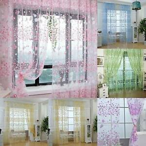 Sheer Voile Window Floral Flower Sheer Curtain Panel Door Window Balcony Tulle