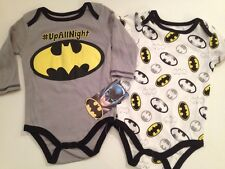 Baby Boy Batman Superhero 2 Bodysuits Size 3 6 9 Months Layette Grey Long Sleeve
