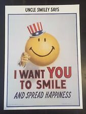 1997 Smiley Face Poster by Harvey Ball Uncle Sam Worcester Mass Art Print
