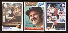 (3) 1970's Topps THURMAN MUNSON Baseball Card LOT No Creases (JO240)