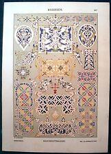 Stampa antica RUSSIA Miniature da manoscritto 1887 Old antique print