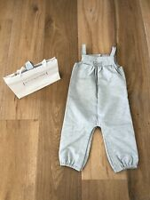 NEW The Little White Company Grey Silver Shimmer Smocked Dungarees 9-12 months