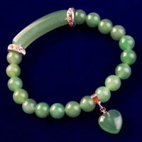 SH2856 Green Aventurine Ball Oblong Pendant Bead Stretchy Bracelet 7.5 Inch