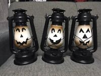 Halloween Pumpkin Lantern Trio - Constant or Flame Effect Halloween Decoration