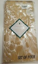 4 GORGEOUS NEW WATERFORD LINENS Kingscourt Cloth Fabric Napkins Gold & Ivory