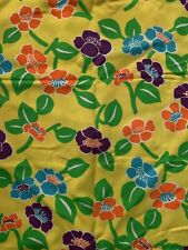 Vintage 1960s Retro Flower Power Print Mod Fabric Mid Century Cloth 1970s 60x48