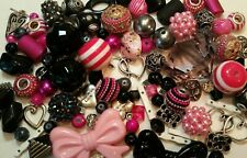 Big lot 100 pc Lilah Ann Beads, Glass, Resin, Charms, Pink and Black A-A519