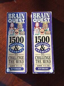 Brain Quest Grade 6 Ages 11-12 1500 Questions Two Flash Card Decks 2016