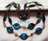 SIGNED WESTERN GERMANY VINTAGE EGYPTIAN REVIVAL MULTI STRAND AB CRYSTAL NECKLACE