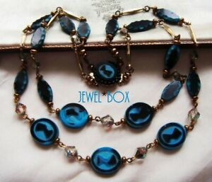 SIGNED WESTERN GERMANY VINTAGE EGYPTIAN QUEENS HEAD GLASS MULTI STRAND NECKLACE