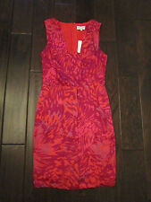 NWT $395 ADAM LIPPES Red Purple Abstract Print Dress w pockets Size 2
